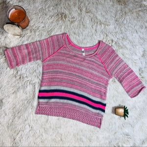Pink/Blue Striped Cropped Sweater